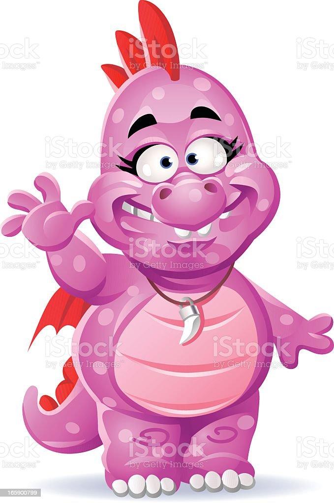 Little Pink Dragon Girl vector art illustration