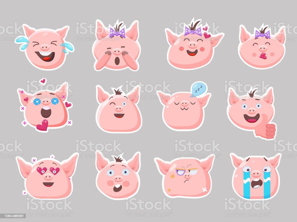ピンクの子豚。かわいい面白い絵文字のベクトルを設定します。泣いて、笑って、寝て、エモリー、悲しい、驚き、怒り、怖がって文字。ステッカー。フラット スタイル。 ベクターアートイラスト