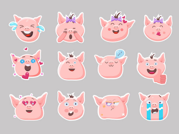 little pink pigs.vector set of cute funny emoji characters. weeping, laughing, sleeping,emory, sad, surprised, angry, scared characters. stickers. flat style. - tears of joy emoji stock illustrations