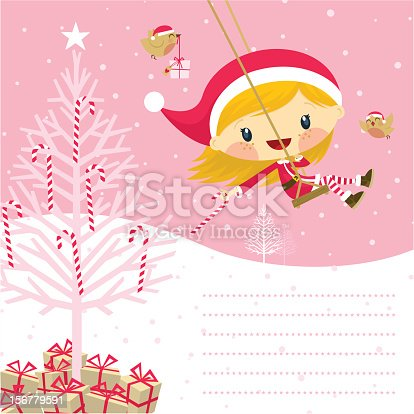 istock Little pink santa claus girl 156779591
