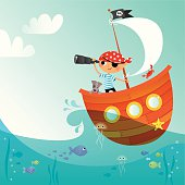 Little pirate and his dog sail the seven seas! EPS 10 file, some transparencies. All elements are grouped and layered, plenty of copy/text space.