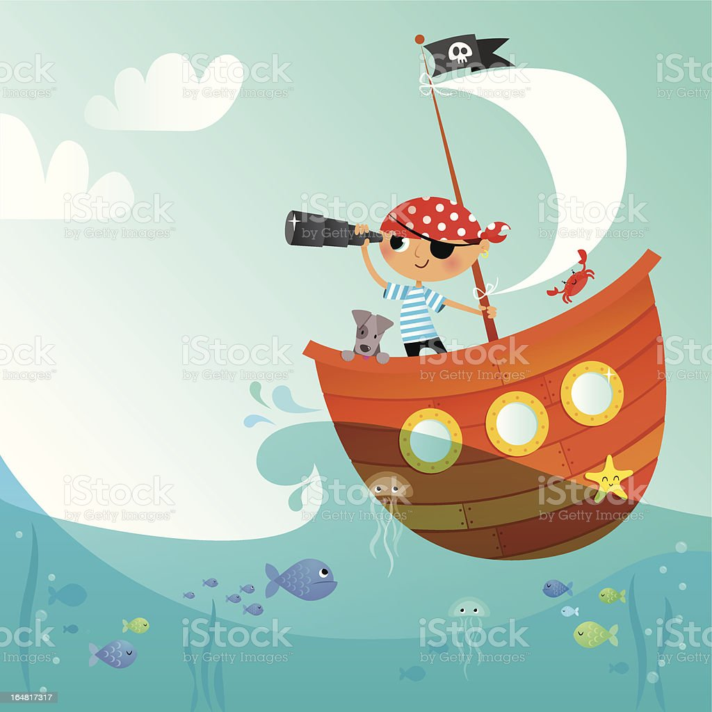 Little pirate vector art illustration