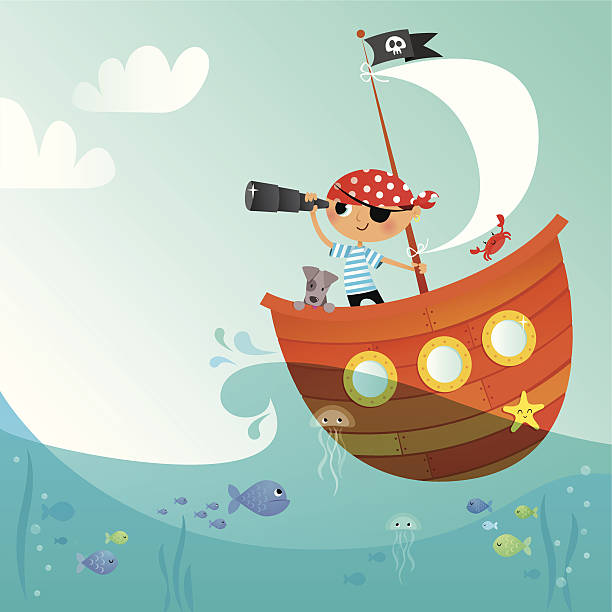 little pirate - cartoon kids stock illustrations, clip art, cartoons, & icons