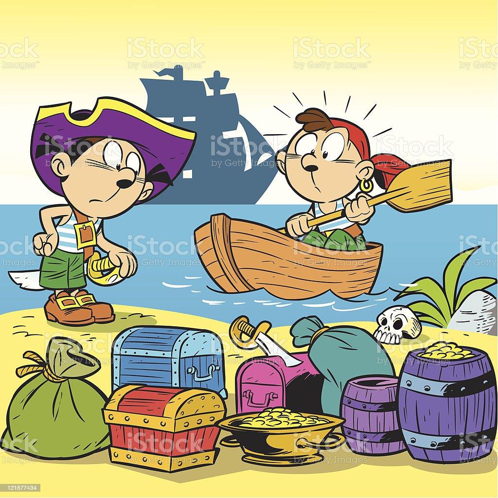 little pirates royalty-free stock vector art
