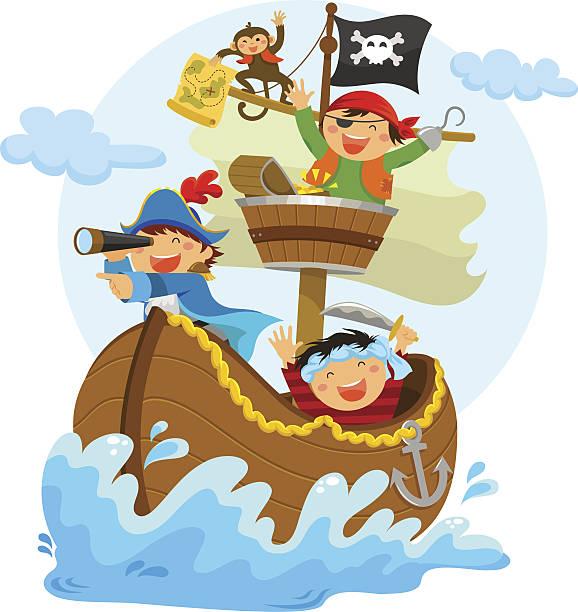 little pirates vector art illustration