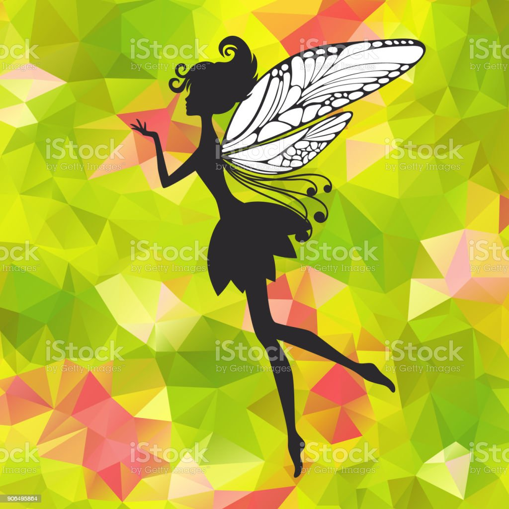 Little pixie with wings on triangle background vector art illustration