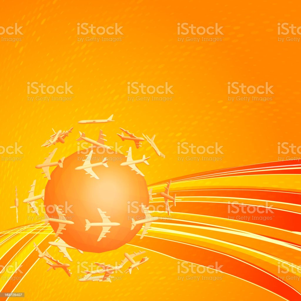 Little planet with airplanes royalty-free stock vector art