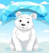 Little polar bear sitting  ice