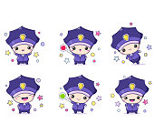 Cartoon police officer in professional uniform. Little policeman in different situations. Kawaii stickers collection. Vector EPS8