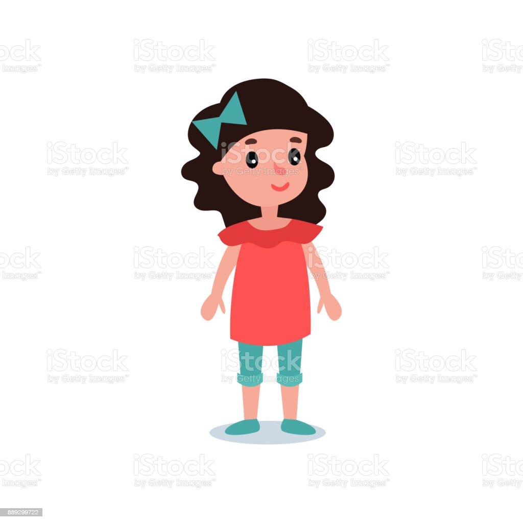 Petit Enfant Dage Prescolaire Aux Cheveux Noirs Qui Pose En Blouse