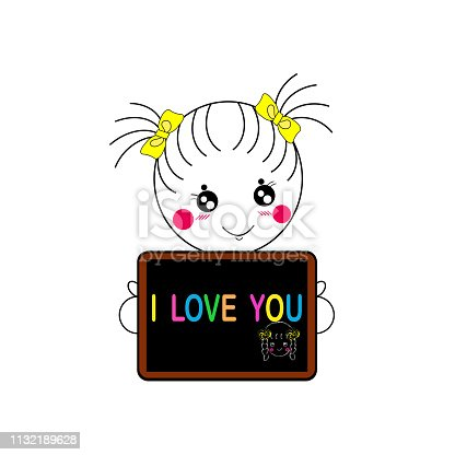 little pretty girl show and tell you with word I love you on her blackboard , Illustration