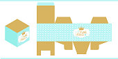 Gold and blue royal vector packing for sweet table. Favors gift box mockup.Cube shape package