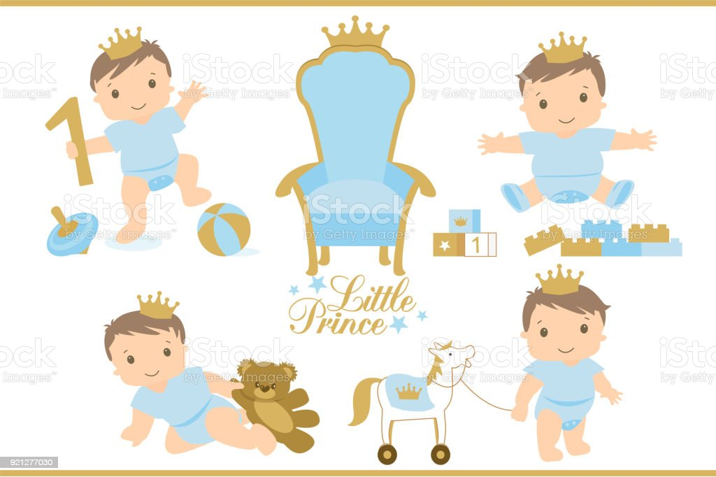 Little Prince Royal Vector Throne Icon Set Of Cute Illustration For ...