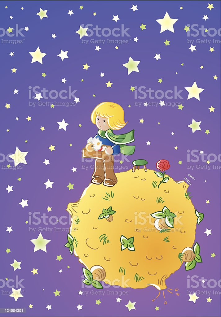 Little prince vector art illustration