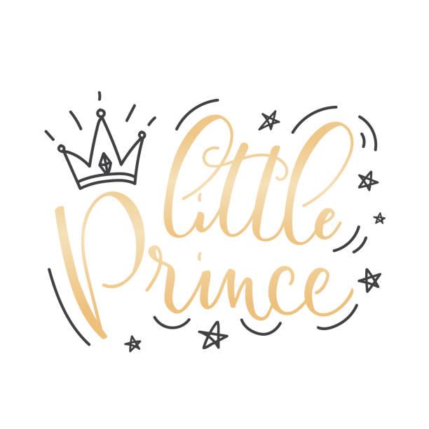 kleine prinz vektor poster mit krone und dekor-elemente - prince stock-grafiken, -clipart, -cartoons und -symbole