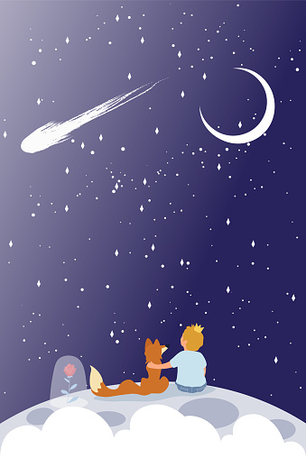 Little Prince with red fox sitting on a planet