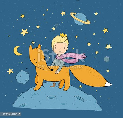 istock Little Prince.A fairy tale about a boy, a rose, a planet and a fox. 1226615215