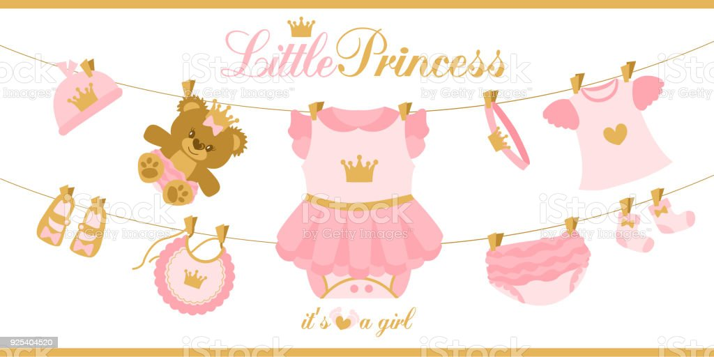 Little princess clothes hanging on line illustration for baby shower little princess clothes hanging on line illustration for baby shower invitation card royalty stopboris Choice Image