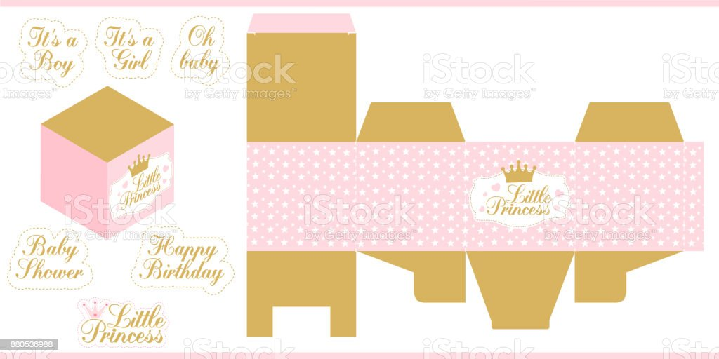 image relating to Printable Box identify Tiny Princess Occasion Printable Template Die Paper Box Print
