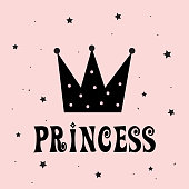 Little Princess with Crown slogan for print. Vector illustration