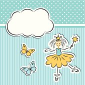 Little princess with paper cloud and butterflies
