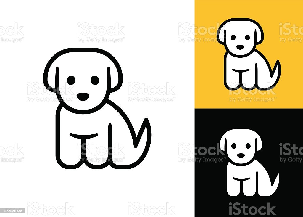 Little puppy icon vector art illustration