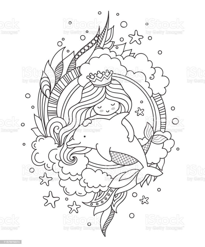 Yunusla Kucuk Kralice Deniz Kizi Sayfa Boyama Kitabi Tebrik Karti