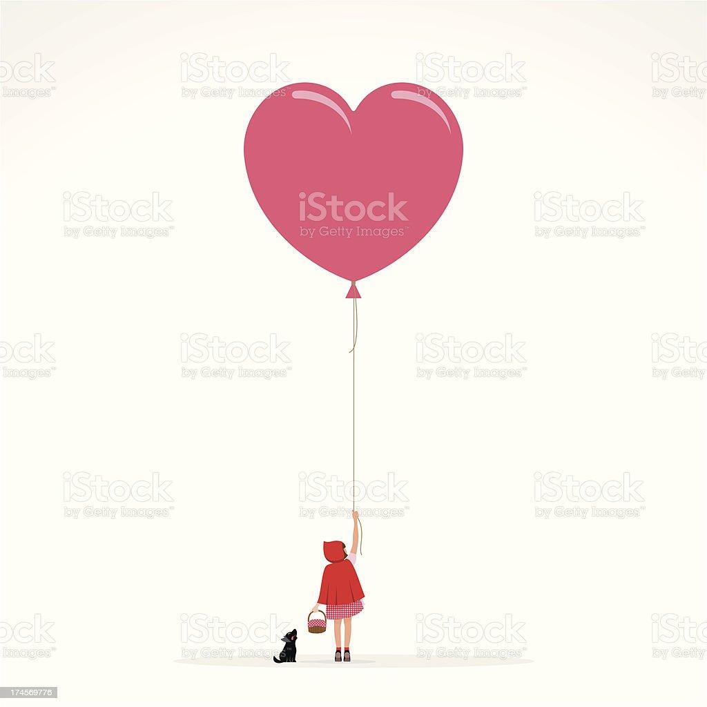 Little red hood wolf invitation girl balloon illustration vector
