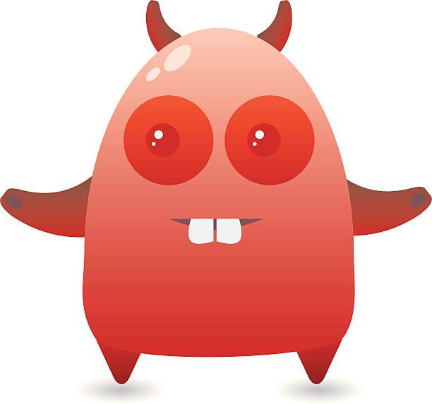 Little Red Monster vector art illustration