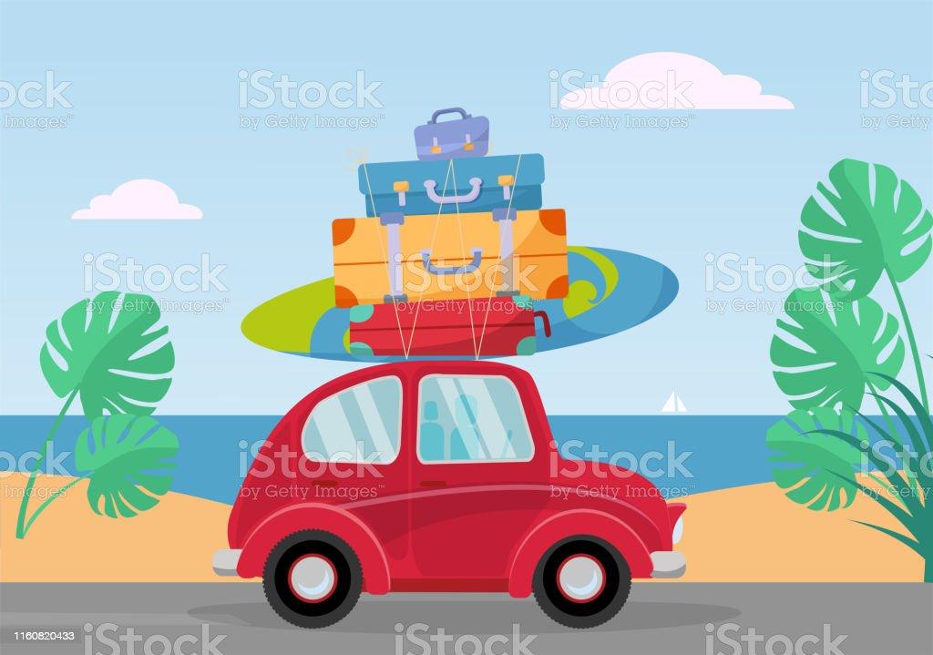 屋根の上にスーツケースのスタックと海から小さな赤いレトロな車に乗りますフラット漫画ベクトルイラストサーフボードと手荷物付きの車側ビュー砂と南の風景モンテラの葉  - やしの葉のベクターアート素材や画像を多数ご用意 - iStock