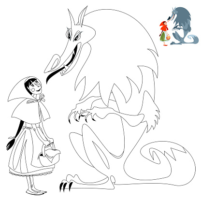 Little Red Riding Hood and Big Bad Wolf. European folk tale. Coloring page.
