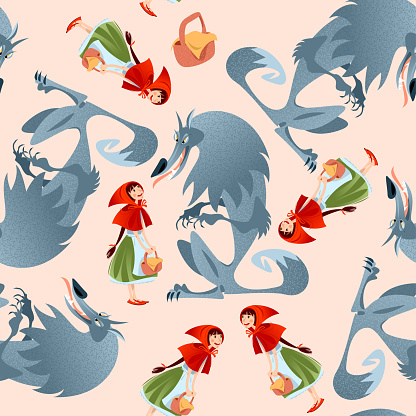 Little Red Riding Hood and Big Bad Wolf. European folk tale. Seamless background pattern.