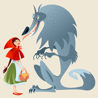 Little Red Riding Hood and Big Bad Wolf. European folk tale.