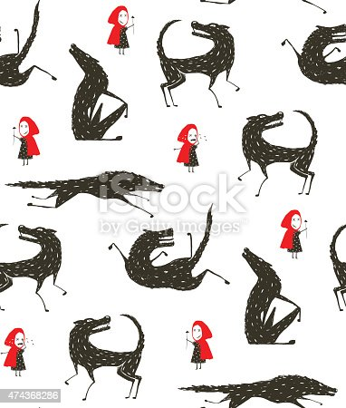 istock Little Red Riding Hood and Black Wolf Fairytale Seamless Pattern 474368286