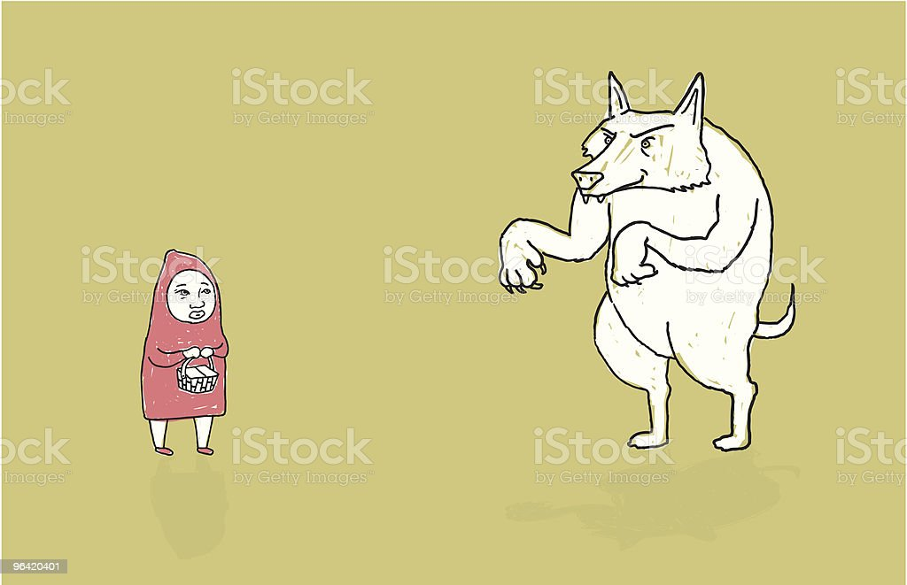 Little Red Riding Hood and The Big Bad Wolf vector art illustration