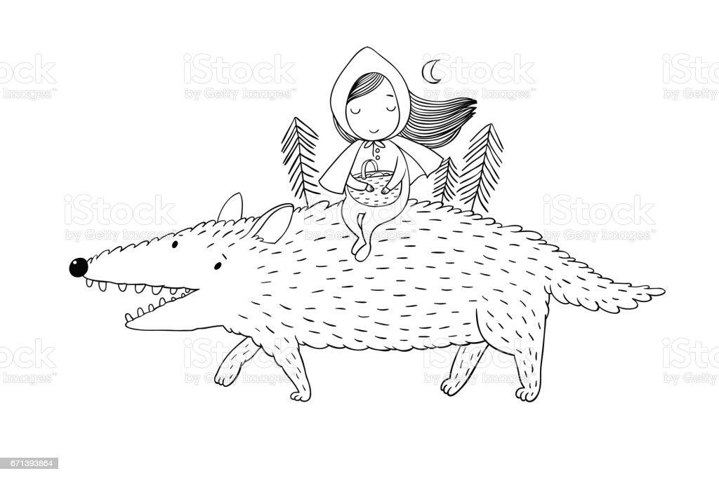 Little Red Riding Hood Märchen. – Vektorgrafik