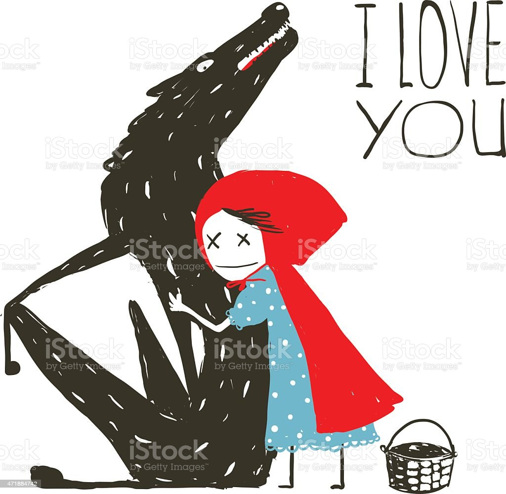 Little Red Riding Hood Loves Black Wolf vector art illustration