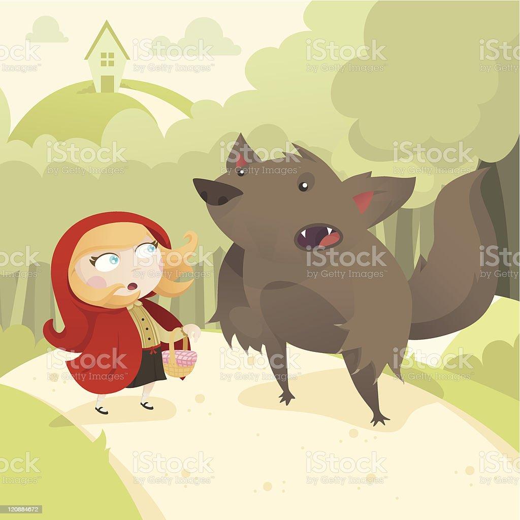 Little Red Riding Hood vector art illustration