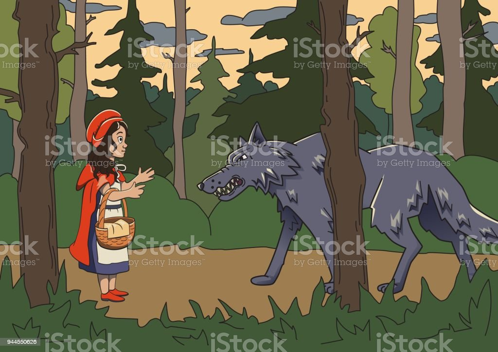 Little red riding hood with big bad wolf in the dark woods. Vector fairy tale illustration. vector art illustration