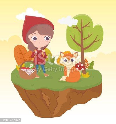little red riding hood wolf and bakset food vegetation nature fairy tale cartoon vector illustration