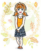 Little red-haired girl toddler standing on background of autumn landscape and wearing fashionable casual clothes. Vector attractive kid illustration. Fashion and lifestyle theme cartoon.