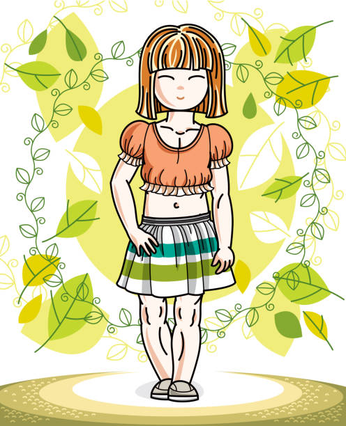 little red-haired girl toddler standing on background of spring landscape and wearing fashionable casual clothes. vector attractive kid illustration. fashion and lifestyle theme cartoon. - spring fashion stock illustrations, clip art, cartoons, & icons