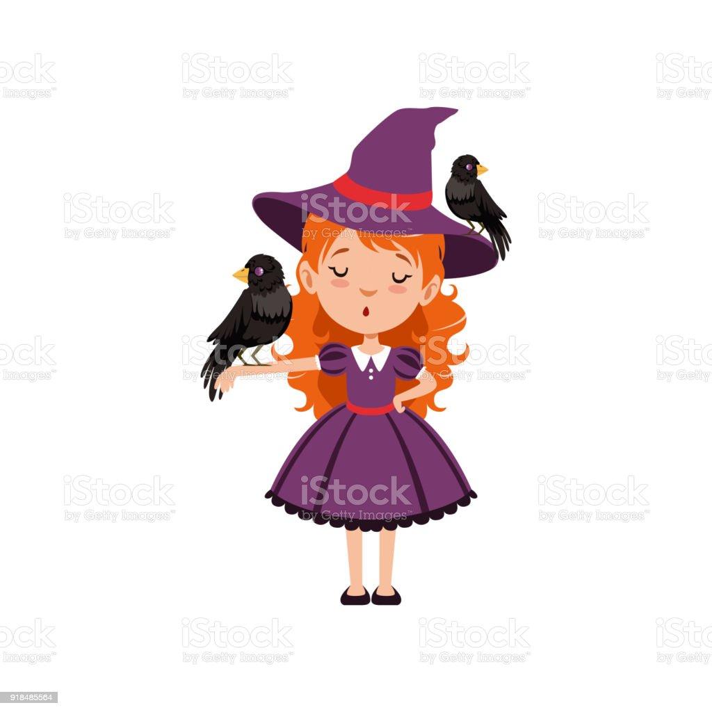 Sorcière De Petite Fille Rousse Debout Avec Un Oiseau Noir