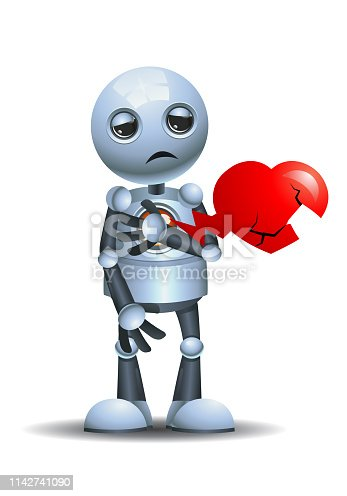 illustration of a little robot broken heart on isolated white background
