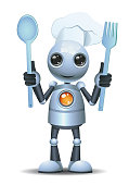illustration of a little robot chef hold cooking tools on isolated white background