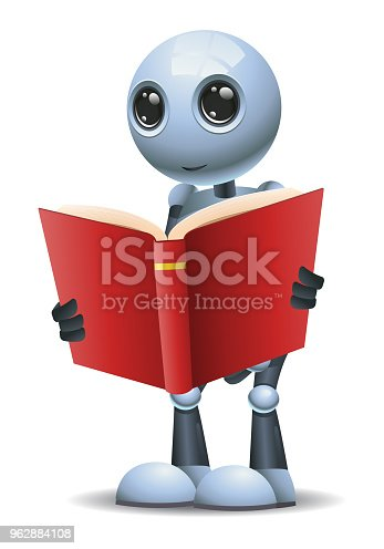 istock little robot hold and reading red book 962884108