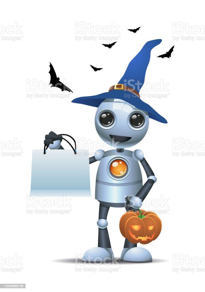 Ilustración de Pequeño Robot En Halloween Mantenga Calabazas ...