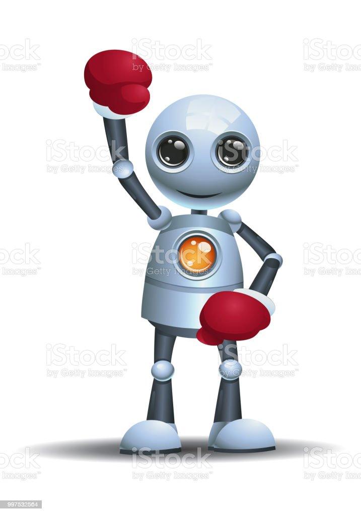 Ilustración de Pequeño Robot Listo Para El Boxeo Con Guantes De ...