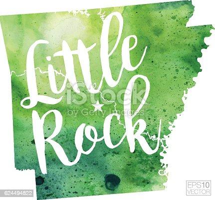 Little Rock Arkansas Usa Vector Watercolor Map Stock Vector Art - Little rock usa map