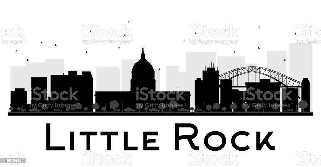 Little Rock City skyline black and white silhouette. vector art illustration